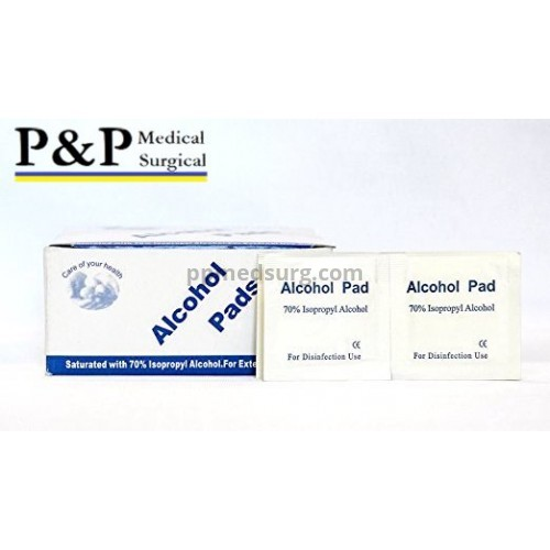 Sterile Alcohol Prep Pads Antiseptic Wipes Latex Free Non Woven 2-Ply Saturated in 70% Isopropyl Alcohol Medium Size Box of 800