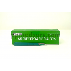 Disposable Scalpels Sterile Surgical Blade Size 10A Stainless Steel with Plastic Handle & Metric Line Individually Foil Wrapped Box of 10
