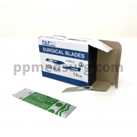 Disposable Surgical Scalpel Blades Sterile High Grade Carbon Steel 2.1% 10xx Individually Foil Wrapped Size 14 Case of 5000